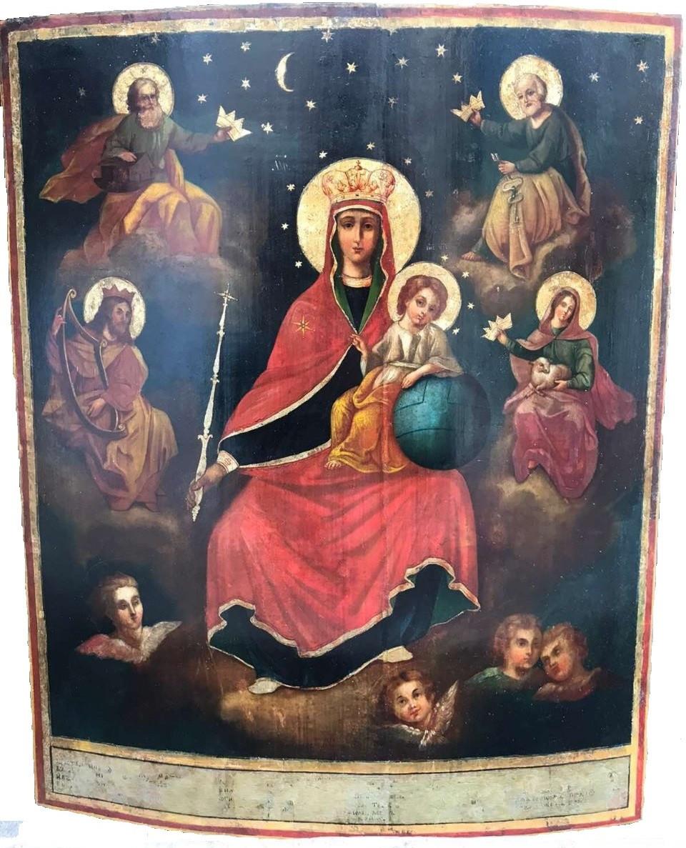 Икона Похвала Пресвятой Богородицы 19 век Державная