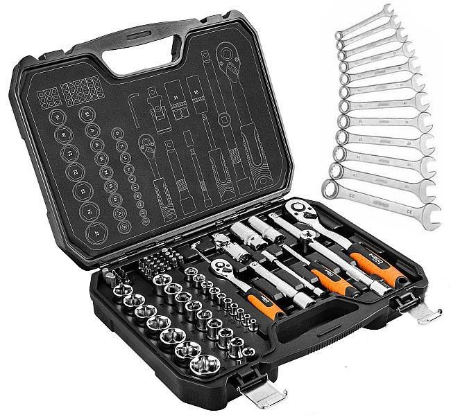 Набор инструментов NEO 73 елемента + 12 рожковых ключей