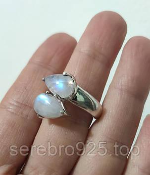 Серебряное кольцо с натуральным лунным камнем 17р., фото 2