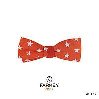 Детская галстук-бабочка двусторонняя оранжевая в звездочки