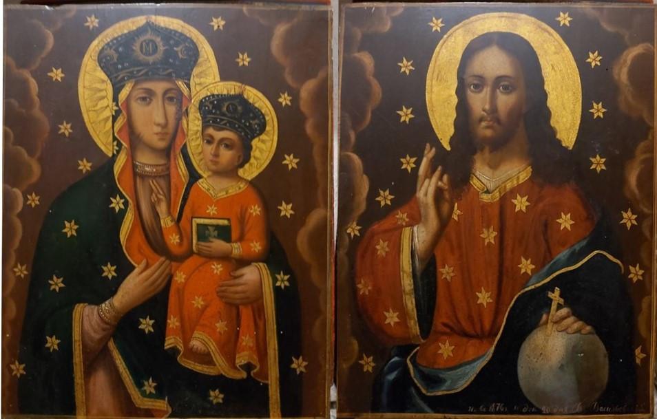 Пара икон Вседержитель и Дубовичская Богородица 1876 год, подписная