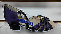 Обувь для девочек блок-каблук Success (баклажановый сатин) (р.19,5)