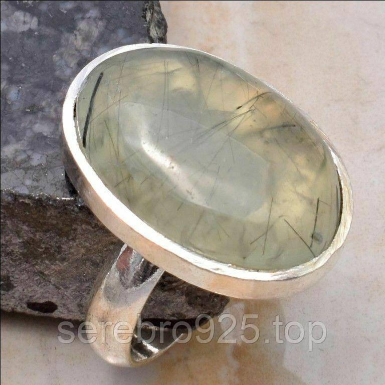 Серебряное кольцо с натуральным камнем пренит 17,5 р.