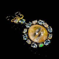 Серебряная Брошь-Кулон с натуральными камнями - Фантомный Кварц (Лодолит), Опалы, голубые Топазы