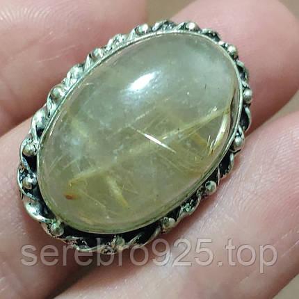 Серебряное кольцо с натуральным рутиловым кварцем - волосатик ( Волос Венеры) 18 р,, фото 2