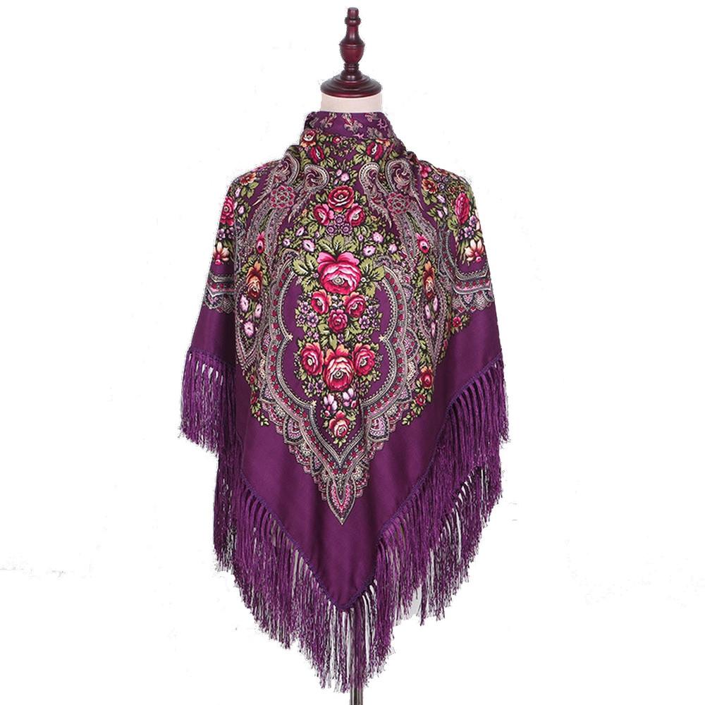 Украинский фиолетовый народный платок в цветочный орнамент с бахромой 110*110
