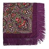 Украинский фиолетовый народный платок в цветочный орнамент с бахромой 110*110, фото 3