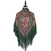Украинский зеленый народный платок в цветочный орнамент с бахромой 110*110