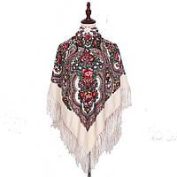 Украинский бежевый народный платок в цветочный орнамент с бахромой 110*110