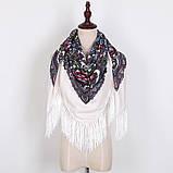 Украинский белый народный платок в цветочный орнамент с бахромой 110*110, фото 2
