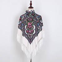 Украинский белый народный платок в цветочный орнамент с бахромой 110*110, фото 1