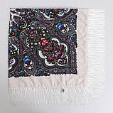 Украинский белый народный платок в цветочный орнамент с бахромой 110*110, фото 3