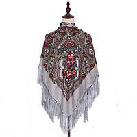 Украинский серый народный платок в цветочный орнамент с бахромой 110*110
