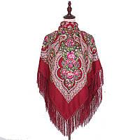 Украинский бордовый народный платок в цветочный орнамент с бахромой 110*110