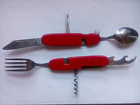 Набор складной дорожный (вилка+ нож+ложка+штопор+ открывалка) перочинный нож