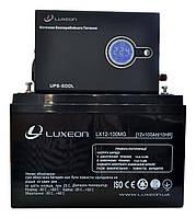 Комплект резервного питания ИБП Luxeon UPS-500L + АКБ LX12-100MG 100Ah для 7-12ч работы газового котла, фото 1