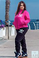 """Стильный утеплённый женский спортивный костюм на байке в больших размерах  1180 """"Адидас Спорт"""" в расцветках"""