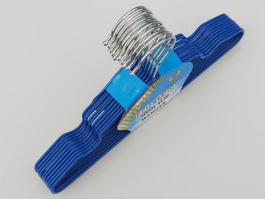 Длина 30 см. Плечики детские металлические в силиконовом покрытии синие, 10 штук в упаковке