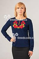 Вышитая футболка с длиным рукавом Мак синяя