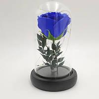 Роза в колбе с LED подсветкой маленькая синяяя №А51