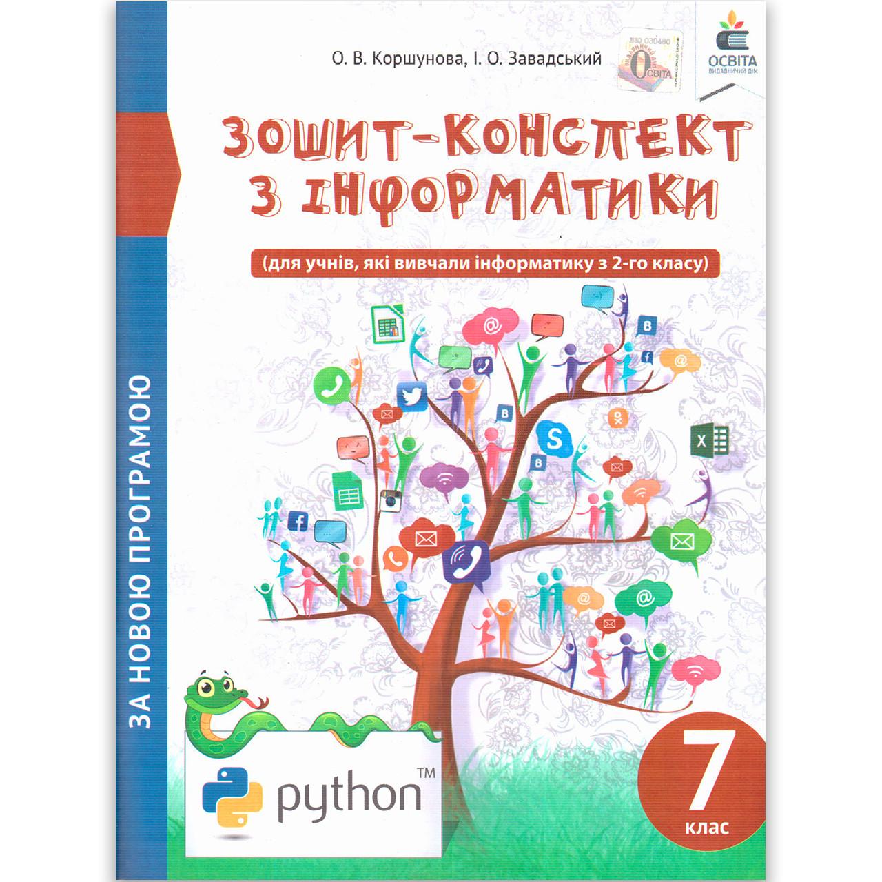 Зошит конспект Інформатика 7 клас Авт: Коршунова О. Завадський І. Вид: Освіта