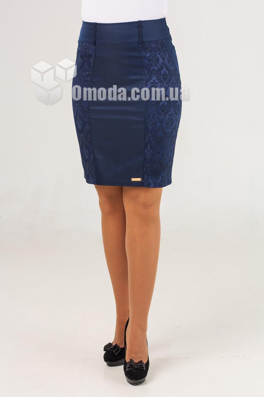Женская юбка карандаш  Эмма жакард синего цвета
