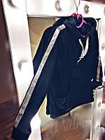 """Кофточка весенняя """"Лента""""с накладным карманом, капюшоном, кофточка декорирована блестящей серебренной лентой, фото 1"""