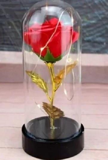 Роза в колбі з LED підсвічуванням маленька червона №А54