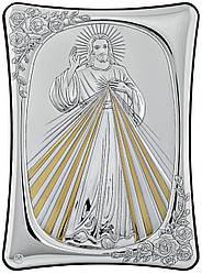 """Итальянская серебряная Икона """"Иисус с лучами сонца"""" 15х21см украшена позолотой"""