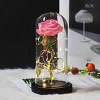 Роза в колбе с LED подсветкой большая розовая №А78