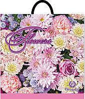 """Пакет плотный с петлевой ручкой """"flowers """" 37х36 см. 25шт."""