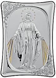 """Итальянская серебряная Икона """"Мария с лучами сонца"""" 10х14см украшена позолотой"""