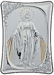 Мария с лучами сонца. Итальянская икона 10х14см Серебряный оклад с позолотой