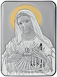 """Серебряная Икона """"Непорочного Сердца Марии"""" 10х14см с позолотой"""