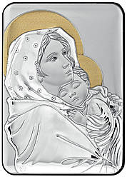 Итальянска Икона Мадонна с Младенцем (Роберто Ферруцци) 10х14см в серебряном окладе