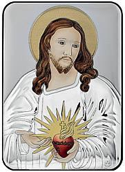 """Серебряная Икона """"Сердце Иисуса"""" 10х14см украшена разноцветной ювелирной эмалью"""