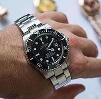 Мужские металлические часы Rolex Submariner, Ролекс, срібний чоловічий годинник
