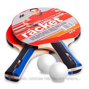 Набор для настольного тенниса 2 ракетки, 2 мяча MK  (древесина, резина, пластик) Распродажа!