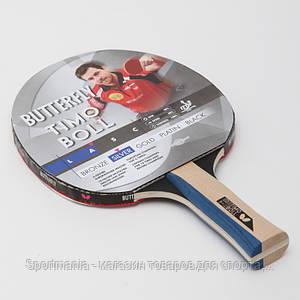 Ракетка для настольного тенниса 1 штука BUTTERFLY  TIMO BOLL SILVER (древесина, резина) Распродажа!