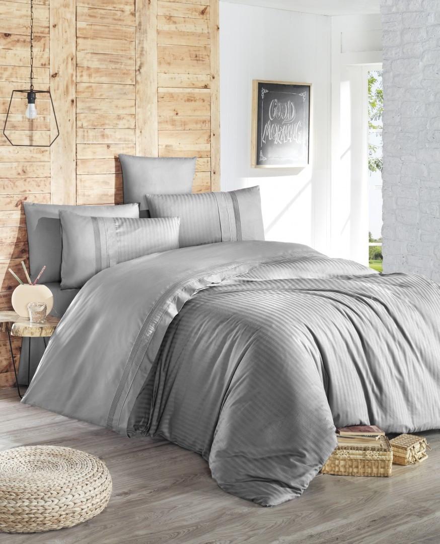 Комплект постельного белья First Choice Ranforce Deluxe евро Gala gri