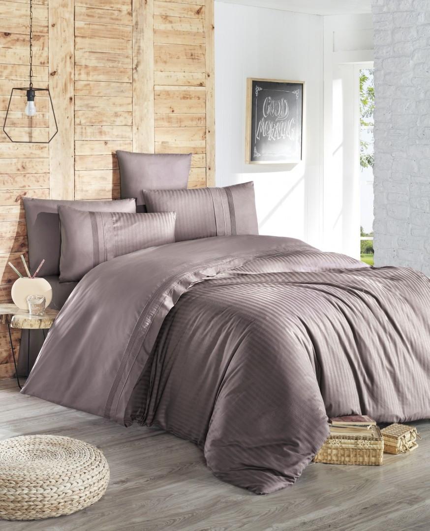 Комплект постельного белья First Choice Ranforce Deluxe евро Gala leylak