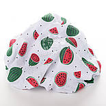 """Лоскут муслиа """"Красно-зелёные арбузы"""" на белом, размер 17*80 см, фото 3"""