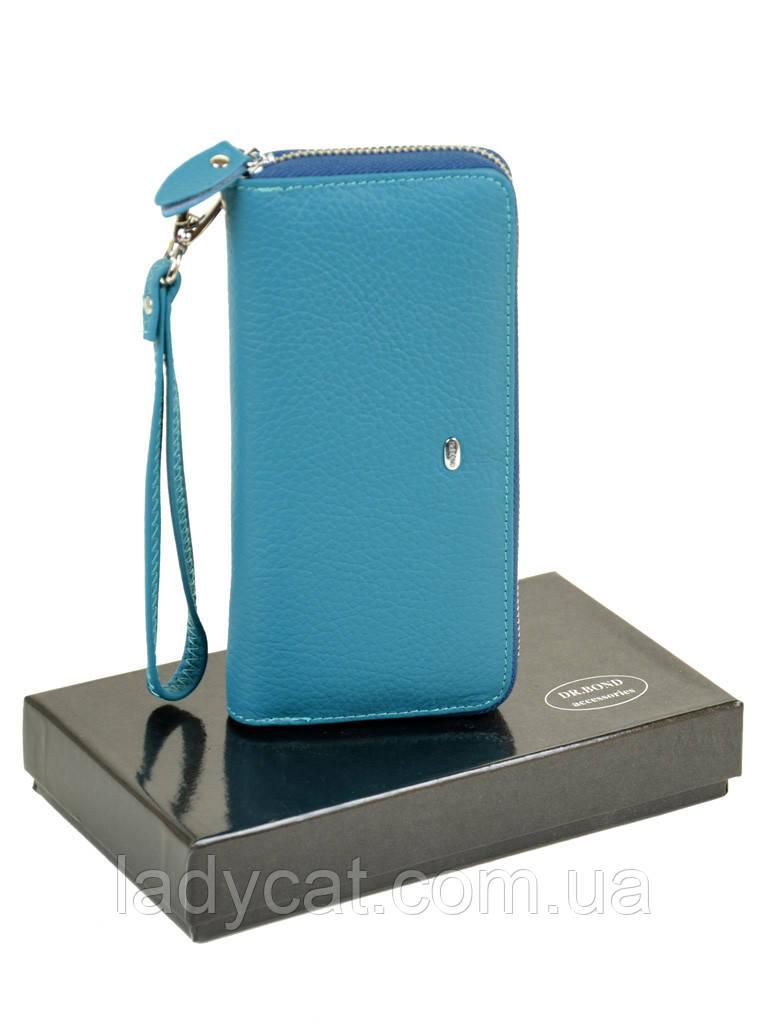 Женский кожаный кошелек-сумочка W38 l-blue