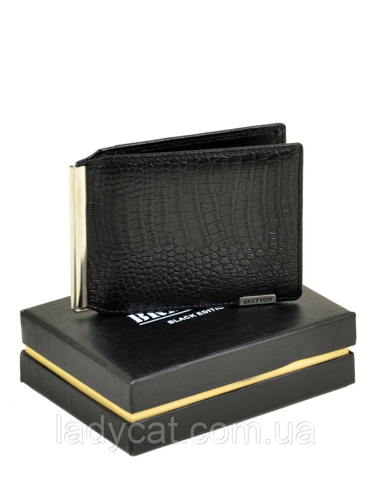 Мужской кожаный зажим для банкнот M3242 black