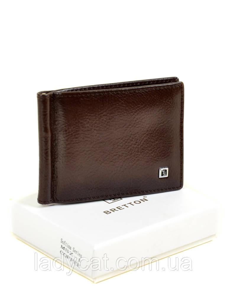 Чоловічий шкіряний затиск для банкнот Softina MZS-1 coffee