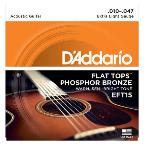 Струны для акустической гитары D`ADDARIO EFT15 FLAT TOPS EXTRA LIGHT 10-47