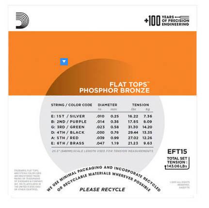 Струны для акустической гитары D`ADDARIO EFT15 FLAT TOPS EXTRA LIGHT 10-47, фото 2