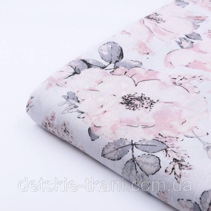 """Лоскут муслина """"Дикие розы"""" пудровые на белом, размер 44*55 см"""