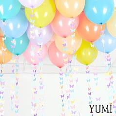 20 шаров под потолок с гирляндами бабочки ассорти пастель