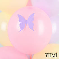 """Баббл с перьями, надписью """"С 8 марта!"""" и 9 нежных шаров с бабочками, фото 2"""